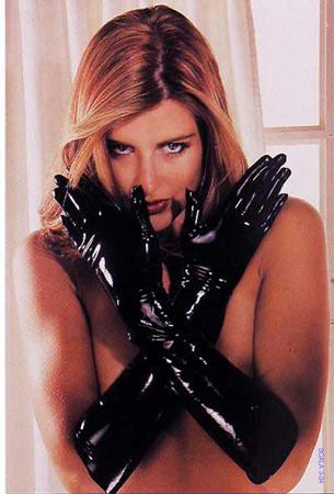 LATEX GAUNTLETS BLACK LARGE