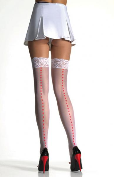Lace Top Stockings; White/Red;