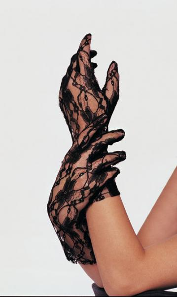 Wrist Length Lace Gloves; Blac