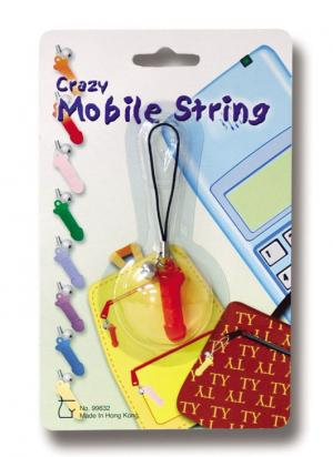 Crazy Movile String. Penis shape ornament with small bell for handys purse