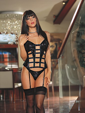 CORSET, THONG & STOCKINGS