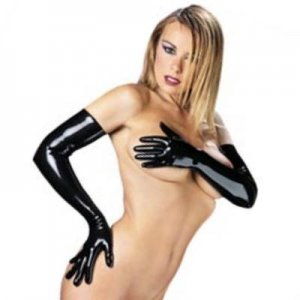 Rubber Secrets Long Gloves Black Latex