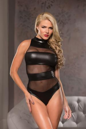 Body Negru Allure Lingerie Leather Look