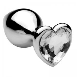 Plug Anal Metal Clear Heart Jewel Medium